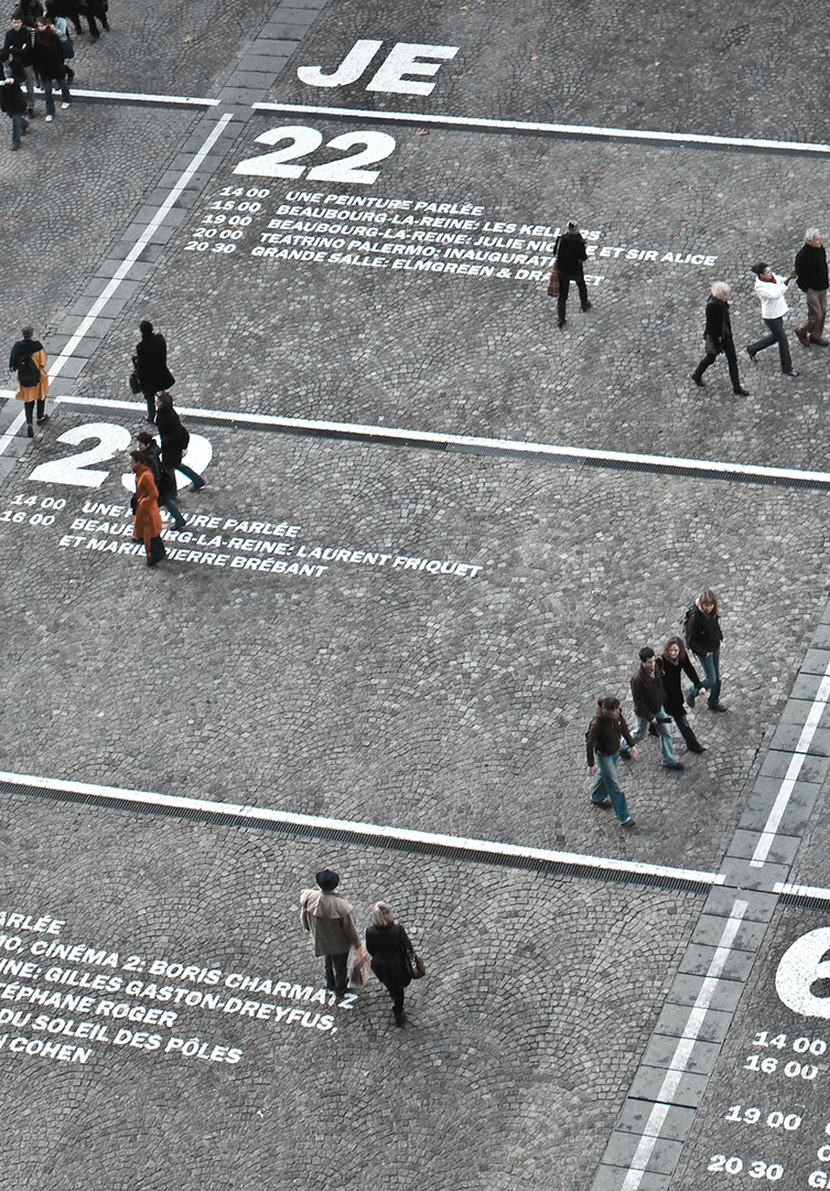 people walking through squares