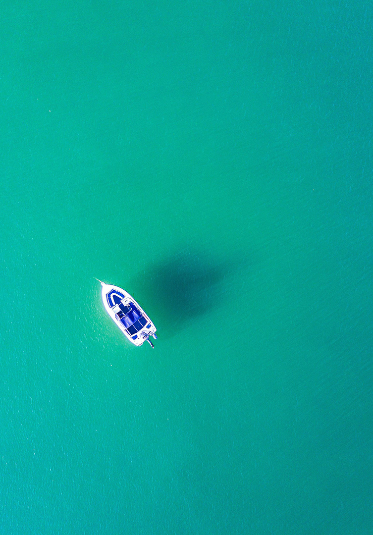 boat in the middle of the ocean