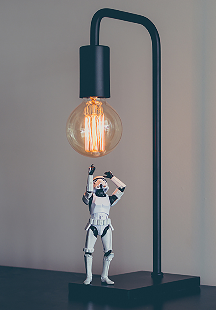 stormtrooper looking up at light bulb